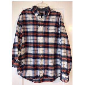 American Eagle Navy & Orange Plaid Shirt